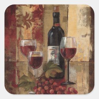 Wine Bottle and Wine Glasses Square Sticker
