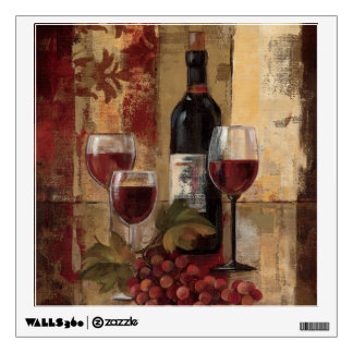 Wine Bottle and Wine Glasses Wall Decal