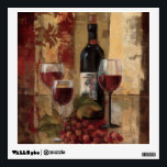"""Wine Bottle and Wine Glasses Wall Decal<br><div class=""""desc"""">&#169; Silvia Vassileva / Wild Apple.  An image of three wine glasses and a wine bottle. The glasses are filled with red wine,  and a bunch of red grapes can be seen beside the glasses.</div>"""