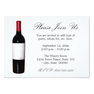 "Wine Bottle (Blank Label) Invitations 4.5"" X 6.25"" Invitation Card"
