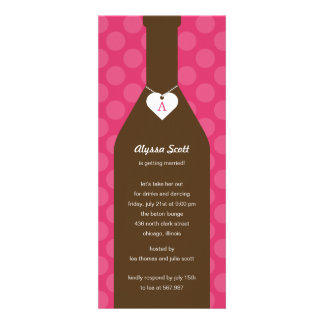Wine Bottle Bridal Shower Invitations - Pink Custom Invitations