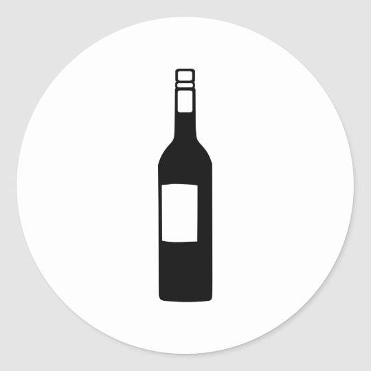 Wine bottle classic round sticker
