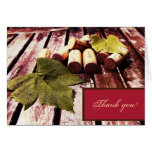 Wine bottle corks and grape leaf thank you greeting card