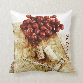 wine bottle corks, corkscrew and grapes pillows