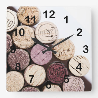 Wine bottle corks square wall clock