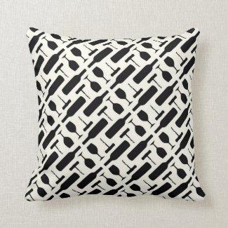 Wine Bottle Corkscrew Glass Pattern in Black Throw Pillow 16