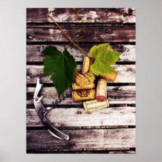 Wine bottle corkscrew, grape leaf and corks poster