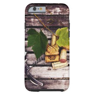 Wine bottle corkscrew, grape leaf and corks tough iPhone 6 case
