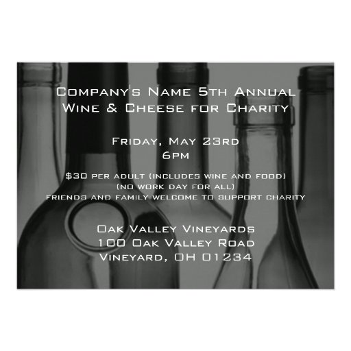 Wine Bottle Corporate Event Invitations (front side)