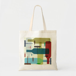 Wine bottle design tote bag