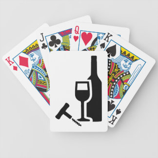 Wine bottle glass corkscrew bicycle playing cards