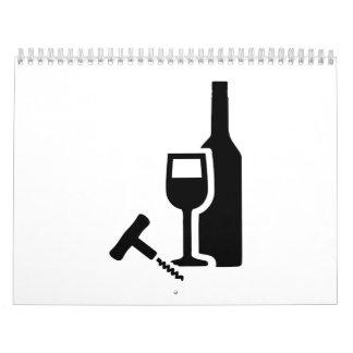 Wine bottle glass corkscrew calendar