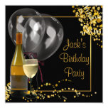 Wine Bottle Glass Gold Black Mans Birthday Party Card