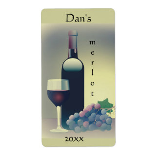 Wine Bottle Glass Grapes Label