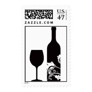 Wine Bottle & Glass Postage