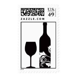 Wine Bottle & Glass Postage Stamps