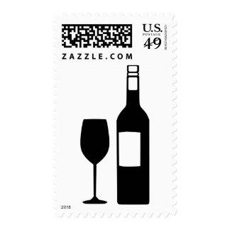 Wine bottle glass postage stamp