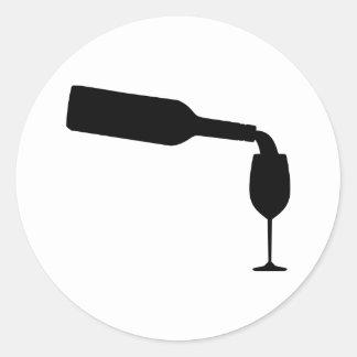 Wine bottle glass round stickers