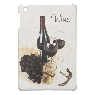 Wine bottle, glasses, grapes and corks iPad mini covers