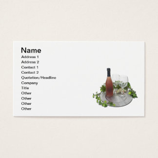 Wine Bottle Glasses Silver Charger Business Card