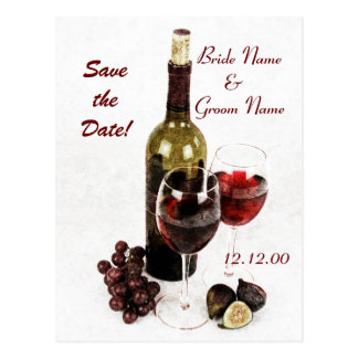 Wine bottle grapes and figs postcard