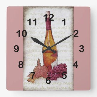 wine bottle, grapes and grape leaf square wall clock