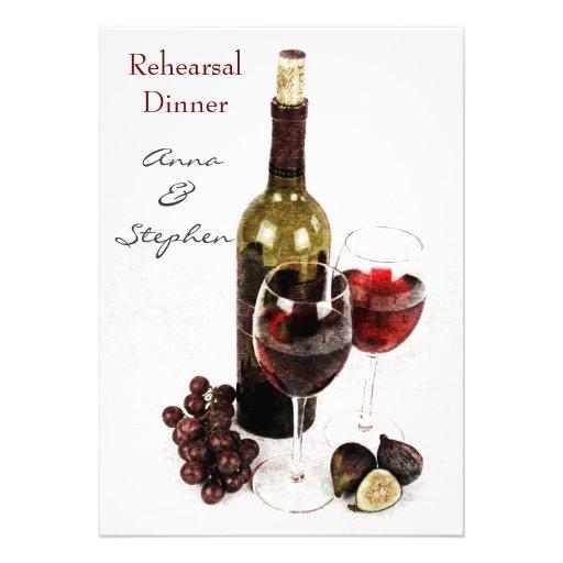 Wine bottle, grapes, and wine glasses custom invite