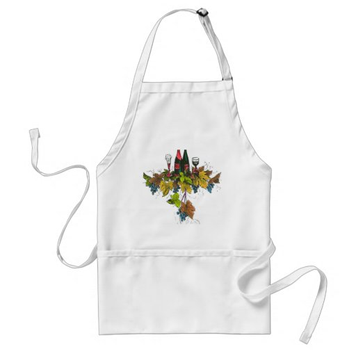 Wine bottle graphic on fall colored grape leaves apron
