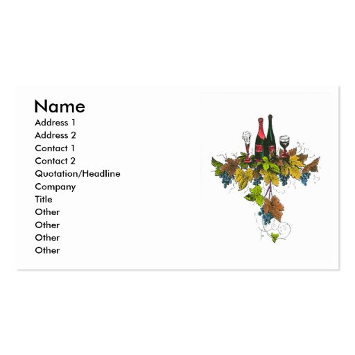 Wine bottle graphic on fall colored grape leaves Double-Sided standard business cards (Pack of 100)