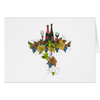 Wine bottle graphic on fall colored grape leaves greeting card