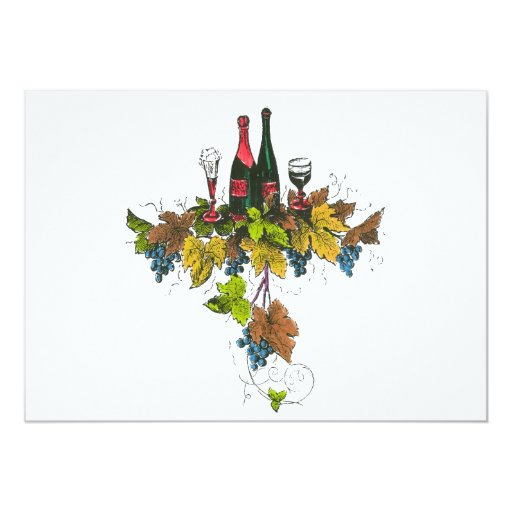 Wine bottle graphic on fall colored grape leaves custom announcement