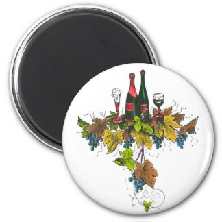 Wine bottle graphic on fall colored grape leaves fridge magnets