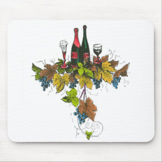 Wine bottle graphic on fall colored grape leaves mouse pad