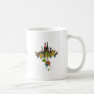 Wine bottle graphic on fall colored grape leaves classic white coffee mug