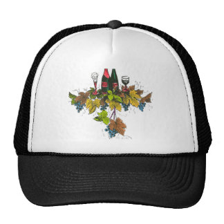Wine bottle graphic on fall colored grape leaves trucker hat