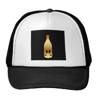 Wine bottle in gold colors trucker hat