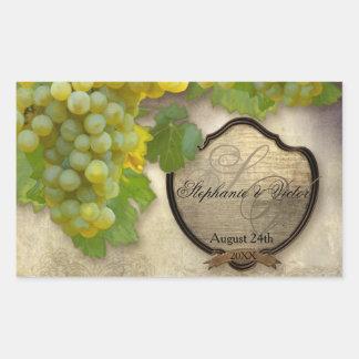 Wine Bottle Label Chardonnay Vineyard Wedding Rectangular Sticker