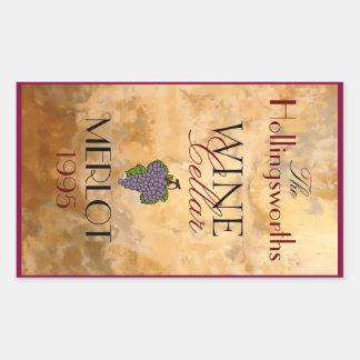 Wine Bottle Label- Personalized Rectangular Sticker