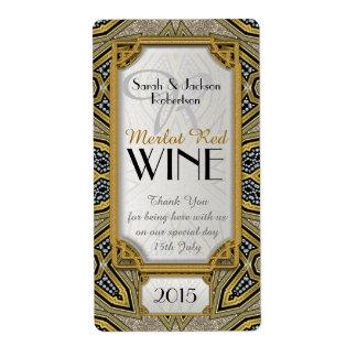 Wine Bottle Labels   Gold+Black Art Deco v3