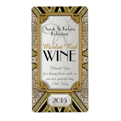 Wine Bottle Labels | Gold+Taupe+Black Art Deco v4