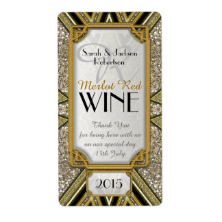 Wine Bottle Labels   Gold+Taupe+Black Art Deco v4