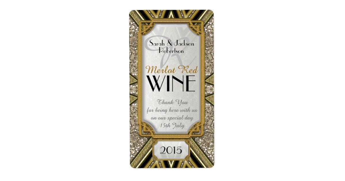 Wine bottle labels gold taupe black art deco v4 zazzle - Deco taupe ...