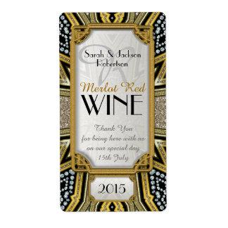 Wine Bottle Labels | Gold+Taupe+Black Art Deco v5