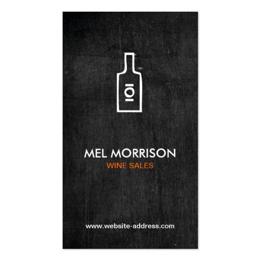 WINE BOTTLE LOGO on BLACK WOOD Business Card