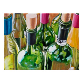 Wine Bottle Painting Poster