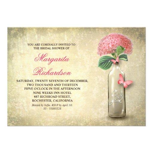 Wine bottle & pink flowers bridal shower invites