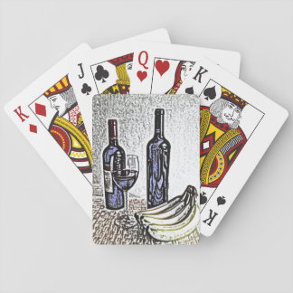 Wine Bottle Still Life Color Pencil Drawing Playing Cards