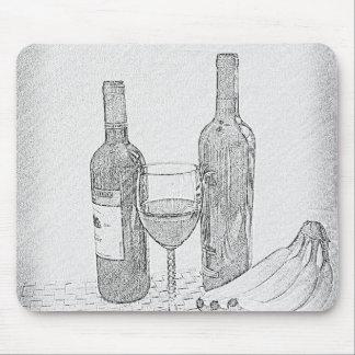 Wine Bottle Still Life Sketch Mouse Pad
