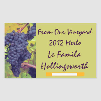 Wine Bottle Vineyard Rectangular Sticker