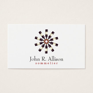Wine Bottle Wheel Sommelier Simple Business Card